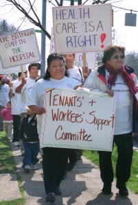 Low-wage workers demand better health care services in Alexandria VA.