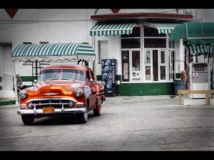 The orange car