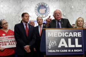 "Senator Bernie Sanders (I-VT) speaks during an event to introduce the ""Medicare for All Act of 2017"